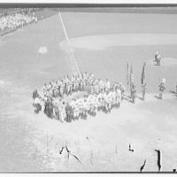 Baseball game at Griffith Stadium. Players honoring Walter Johnson I
