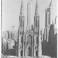 New York city views. Axis of St. Patrick's Cathedral, with tower between spires
