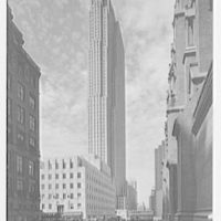 Rockefeller Center. RCA Building, from 50th St. on cathedral grounds