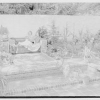 S. Galban, residence at 4621 Walds Ave., Fieldston, New York City. Pool and garden bench