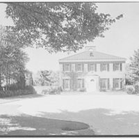 Edwin A. Fish, residence in Mill Neck, Long Island. Entrance facade under tree