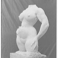 Gaston Lachaise scuplture at 42 Washington Mews, New York City. Torso III, side