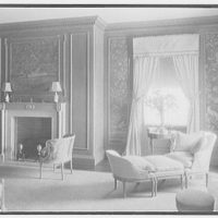 John N. Conyngham, Hayfield Farm, residence in Lehman Township, Pennsylvania. Blue bedroom, to fireplace, natural light
