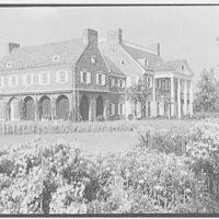 John N. Conyngham, Hayfield Farm, residence in Lehman Township, Pennsylvania. East and south facades over garden border