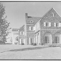 John N. Conyngham, Hayfield Farm, residence in Lehman Township, Pennsylvania. East facade from right, sharp, 10 a.m.