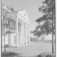 John N. Conyngham, Hayfield Farm, residence in Lehman Township, Pennsylvania. Portico and tree, from left