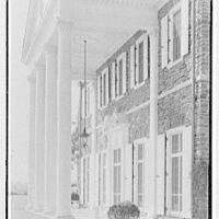 John N. Conyngham, Hayfield Farm, residence in Lehman Township, Pennsylvania. Portico, closer