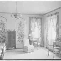 John N. Conyngham, Hayfield Farm, residence in Lehman Township, Pennsylvania. White paneled bedroom, general