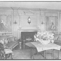 John Russell Pope, residence in Newport, Rhode Island. Living room fireplace from left