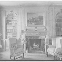 Mrs. Edwin Gould, residence in Oyster Bay, Long Island. Library, to fireplace