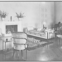 Mrs. William E. Clow, Jr., residence in Lake Forest, Illinois. Living room, fireplace group