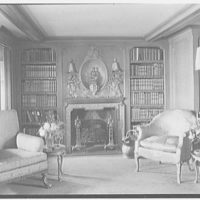 """Yacht """"Rene,"""" owned by Alfred P. Sloane, Jr. Library fireplace"""