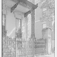 Charleston ironwork details, Charleston, South Carolina. Rutledge House, 116 Broad St., vertical detail of ironwork from street