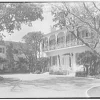 "Dr. John A. Vietor, ""Southwood,"" residence on Via Del Lago, Palm Beach, Florida. Entrance view from right II"