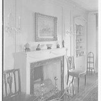 Edward B. King, residence in Goldens Bridge, New York. Dining room fireplace, sharp