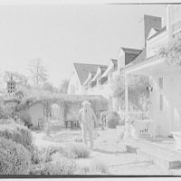 Edward Shepard Hewitt, West Acre, residence in Lloyd Harbor, Long Island. West elevation general with Mickey and Mr. Hewitt