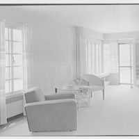 George R. Dyer, residence in Brookville, Long Island. Living room, side view