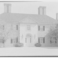Howard Phipps, residence in Westbury, Long Island. Entrance facade, center section