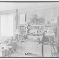 Mrs. D. Walter Gibson, residence on Old Church Rd., Greenwich, Connecticut. Living room desk