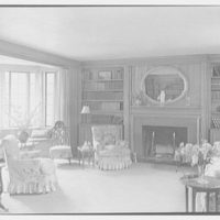 Mrs. D. Walter Gibson, residence on Old Church Rd., Greenwich, Connecticut. Living room, to fireplace