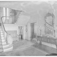 Mrs. Z.G. Simmons, Sr., residence on Clapboard Ridge Rd., Greenwich Connecticut. Stair hall