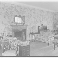 Peter H.B. Frelinghuysen, residence on El Burro Way, Palm Beach, Florida. Living room, to fireplace
