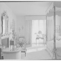 William S. Paley, residence at 29 Beekman Pl., New York City. Master bedroom from entrance door, horizontal