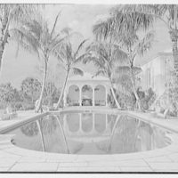 Wolcott Blair, residence on Ocean Blvd., Palm Beach, Florida. Pool, axis view, 4 p.m.