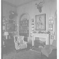 E.F. Hutton, residence on S. Ocean Blvd., Palm Beach, Florida. Library, to fireplace