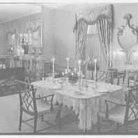 Mrs. Hugh Mercer Walker, residence at 730 Park Ave., New York City. Night, dining room with set table
