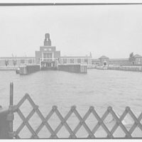 Ellis Island ferry house, Ellis Island, New York. General approach view, from boat