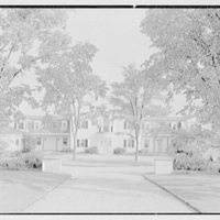 Robert T. Swaine, residence on Silver Springs Rd., Milton, Connecticut. Entrance facade, through tree