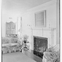 Albert W. Sherer (formerly Mrs. Myron C. Wick), residence on Round Hill Rd., Greenwich, Connecticut. Living room fireplace