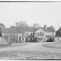 Albert W. Sherer (formerly Mrs. Myron C. Wick), residence on Round Hill Rd., Greenwich, Connecticut. Entrance facade from left