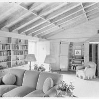 Arthur W. Rossiter, Jr., residence on St. Marks Lane, Islip, Long Island. Living room, to entrance door and bar