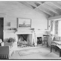 Arthur W. Rossiter, Jr., residence on St. Marks Lane, Islip, Long Island. Living room, to fireplace