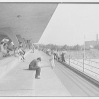 Betsy Head Play Center, Hopkinson and Livonia Ave., Brooklyn, New York. Upper deck, from north, to diving pool I