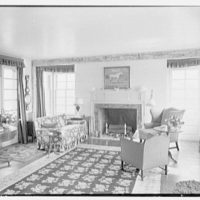 C. Maury Jones, residence in Peapack, New Jersey. Living room, to fireplace