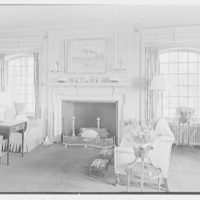 Charles H. Upson, residence in Middlebury, Connecticut. Living room, to fireplace
