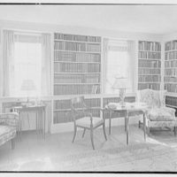 Duncan Bulkley, residence on Dongle Ridge Rd., North Salem, New York. Library, to bookshelves