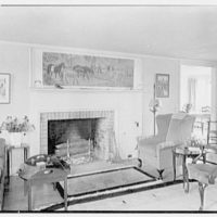 Frazier Hunt, residence in Westport, Connecticut. Living room, fireplace