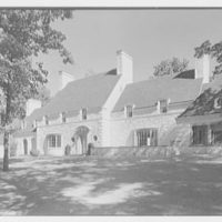 Harold F. Reindahl, residence on Forest Rd., Essex Fells, New Jersey. Entrance facade from right