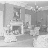 Harris Fahnestock, residence in Lenox, Massachusetts. Living room, to fireplace