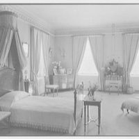 Harris Fahnestock, residence in Lenox, Massachusetts. Mr. Fahnestock's bedroom, to bed, day view