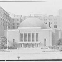 Hayden Planetarium, New York City. General entrance view, axis
