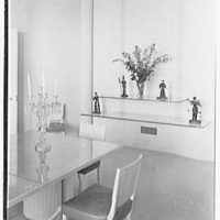 Henry R. Luce, residence on Upper King St., Greenwich, Connecticut. Dining room, to glass shelves