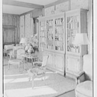 Henry W. Bagley, Bellehaven, residence in Greenwich, Connecticut. Bookcase, living room