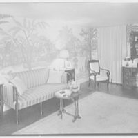 Henry W. Bagley, Bellehaven, residence in Greenwich, Connecticut. Guest house living room, night effect, to sofa