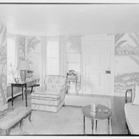 Henry W. Bagley, Bellehaven, residence in Greenwich, Connecticut. Quarry cottage, living room, end wall