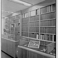 Magnamusic Inc., business at 152 W. 57th St., New York City. Record shop, detail of set shelves